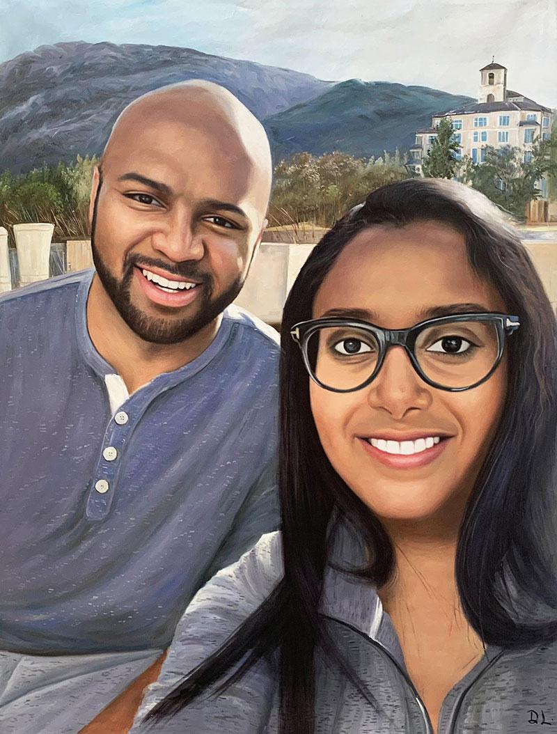 Custom handmade acrylic painting of a smiling couple