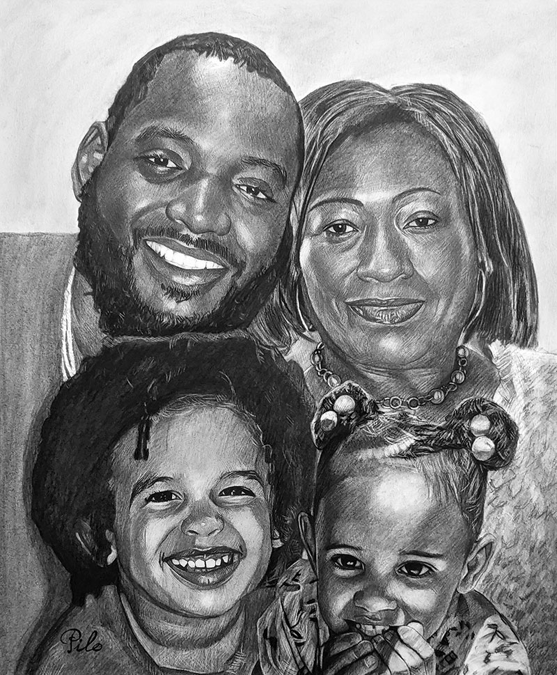 Custom charcoal portrait of a happy family