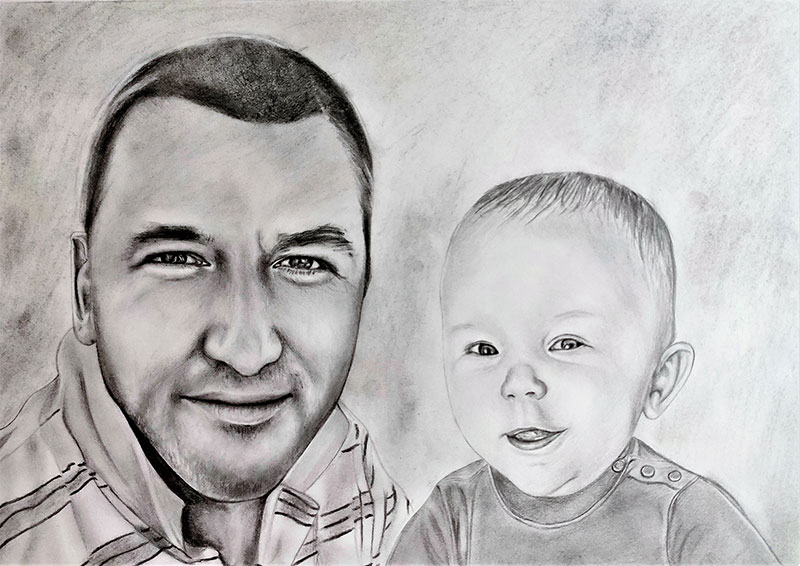 Custom charcoal drawing of an adult with a baby