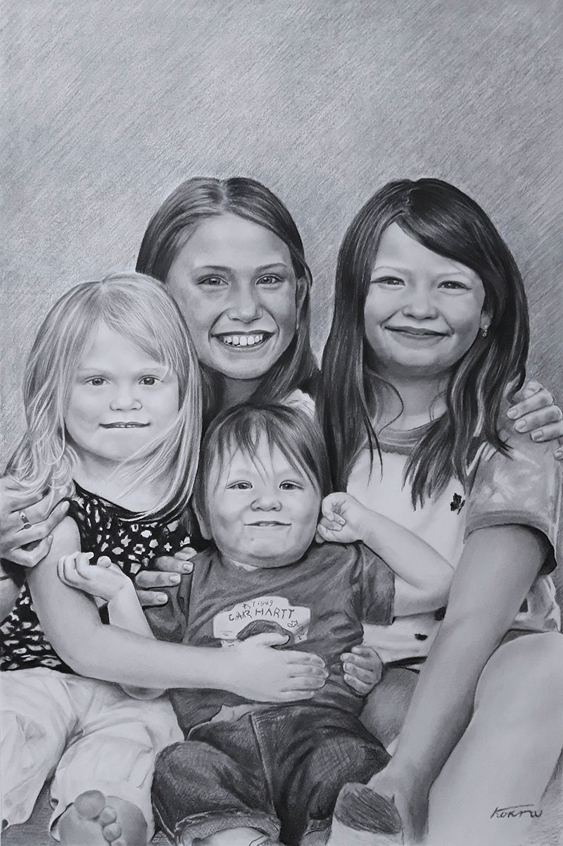 Beautiful charcoal drawing of four children
