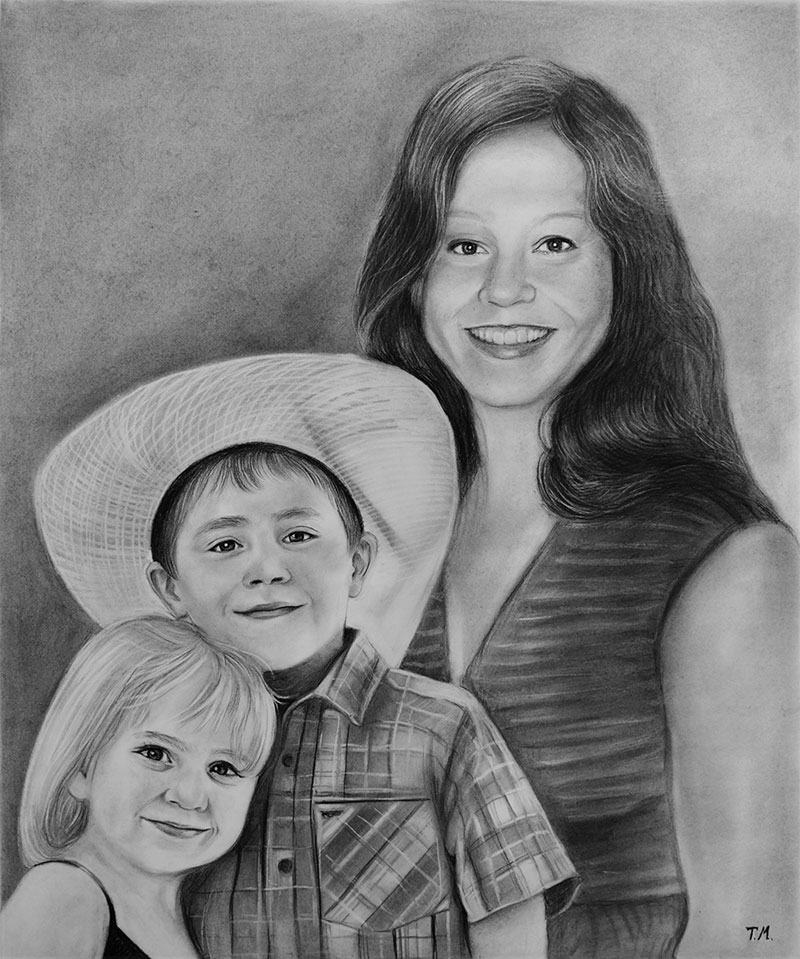 Beautiful charcoal drawing of a happy family