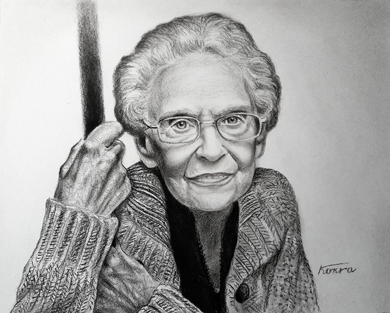 Beautiful charcoal drawing of an elder lady