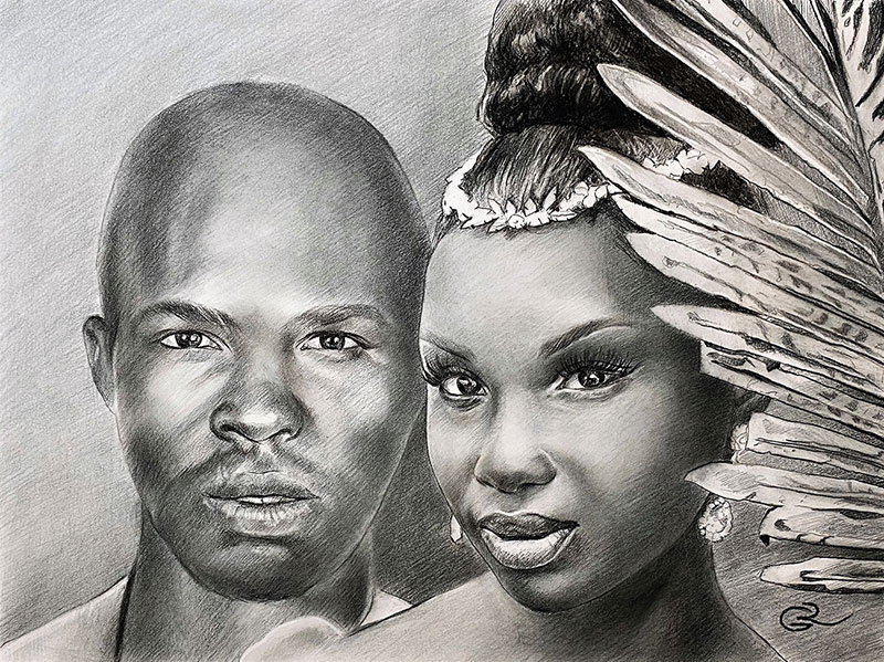 Beautiful charcoal drawing of a couple
