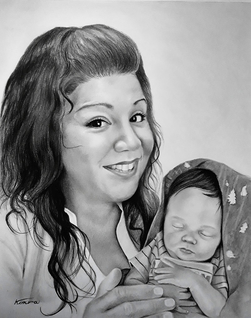 Beautiful charcoal drawing of a mother and son