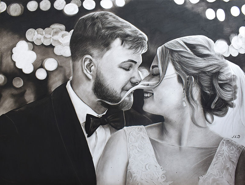 Gorgeous charcoal drawing of a bride and a groom