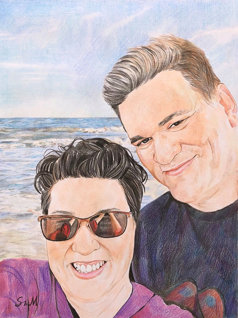 Beautiful color pencil drawing of a happy couple