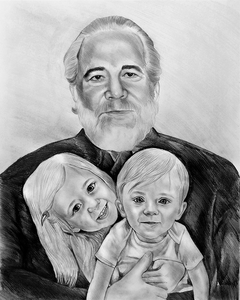 Beautiful black pencil drawing of an elder man with two kids