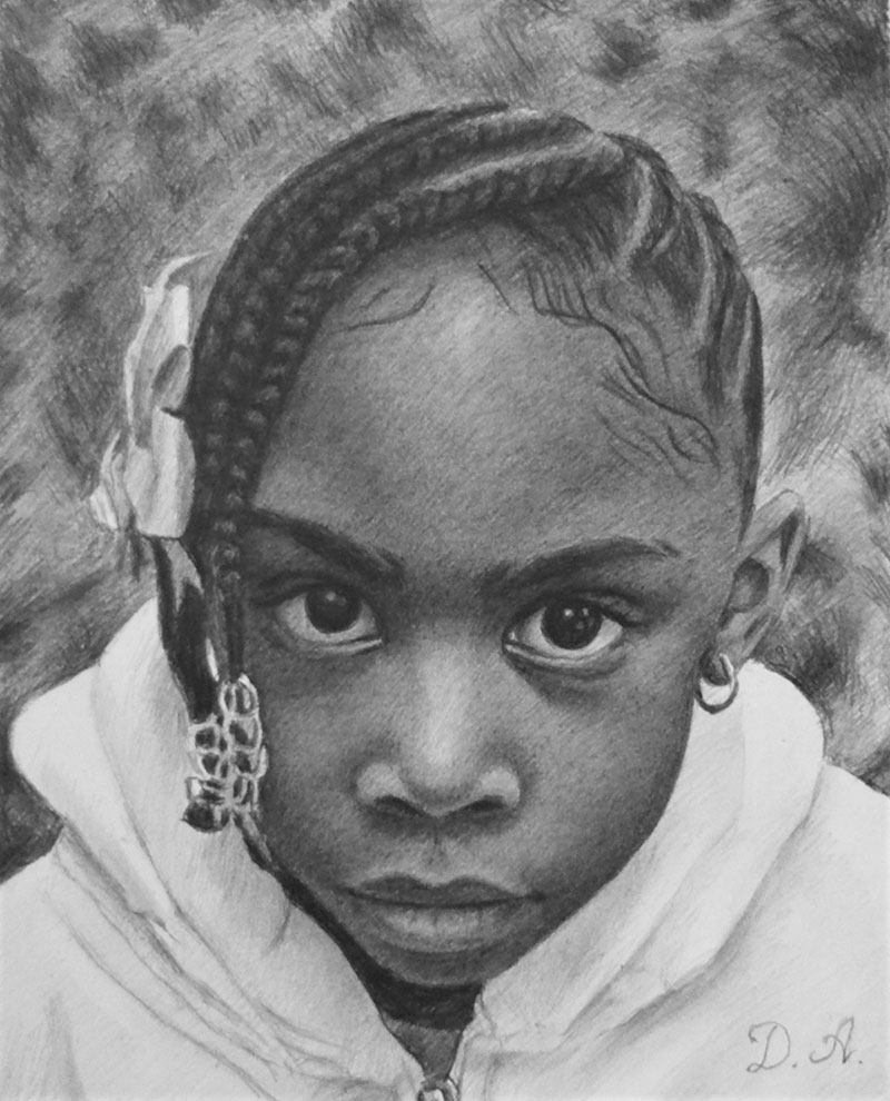Beautiful black pencil drawing of girl with braids
