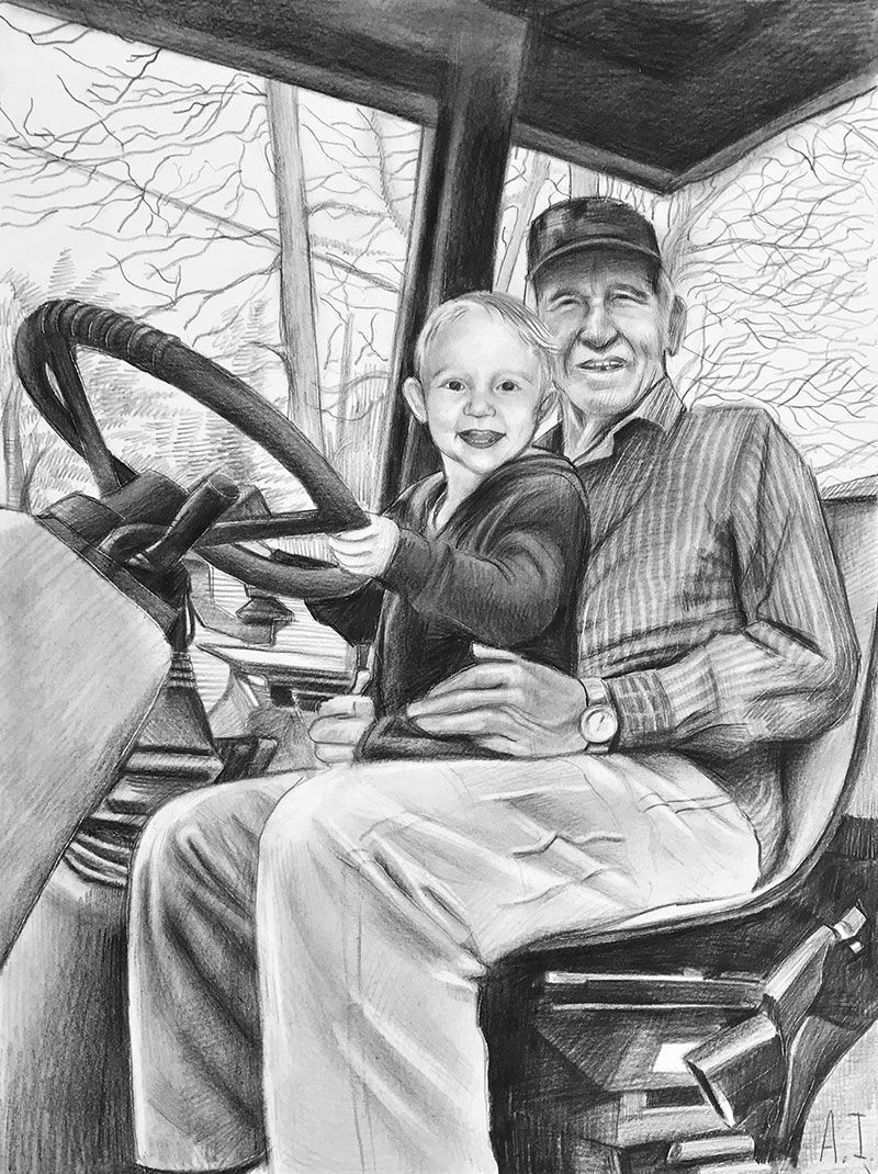 Beautiful black pencil drawing of an elder man with a boy