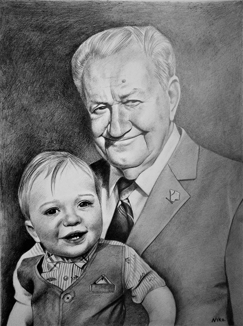Beautiful black pencil drawing of an elder man with a baby