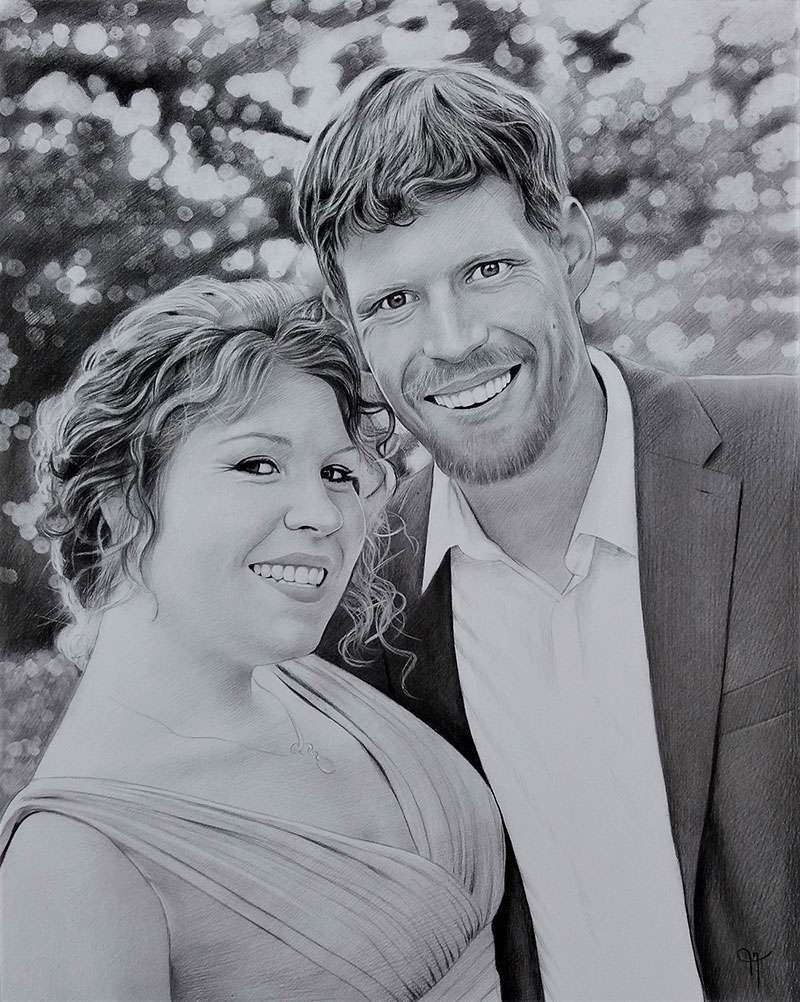Beautiful charcoal drawing of a happy couple
