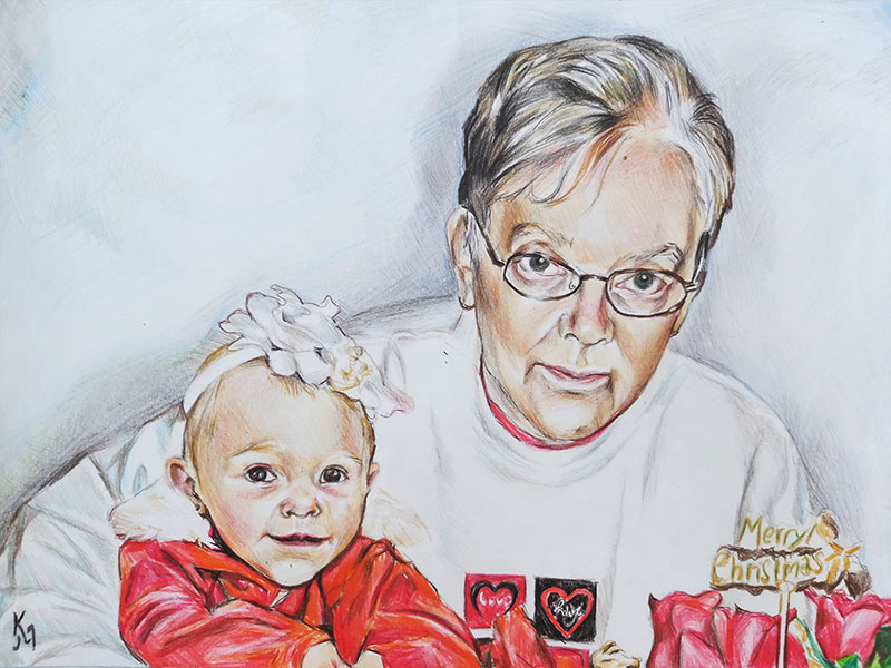 Beautiful color pencil drawing of a grandmother with a baby