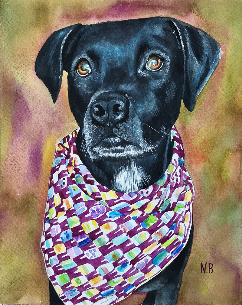 Beautiful watercolor painting of a black dog