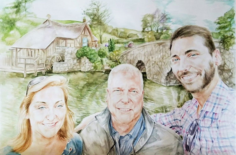 Beautiful watercolor painting of a happy family