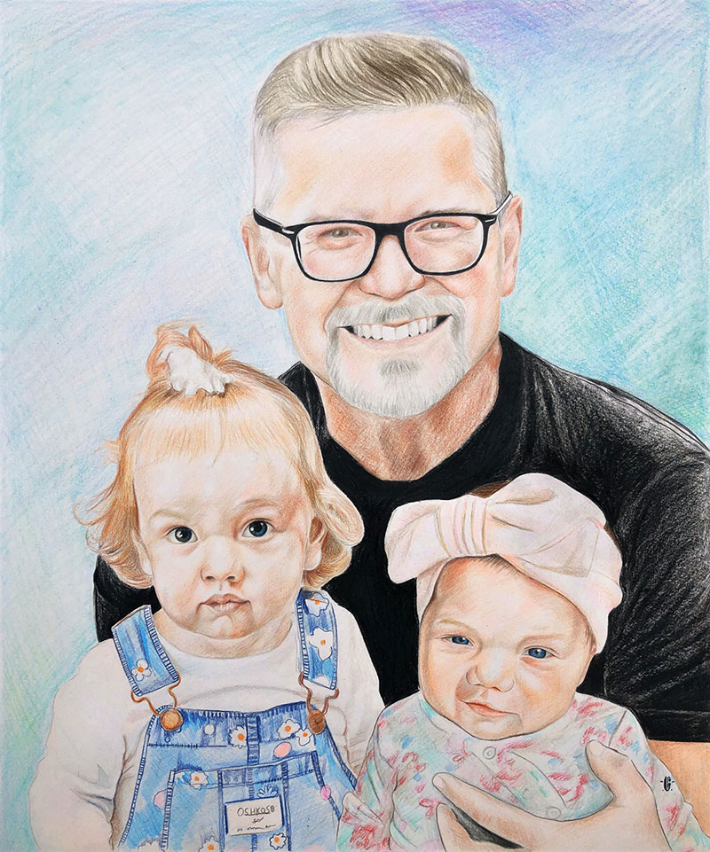 Beautiful color pencil drawing of a happy family