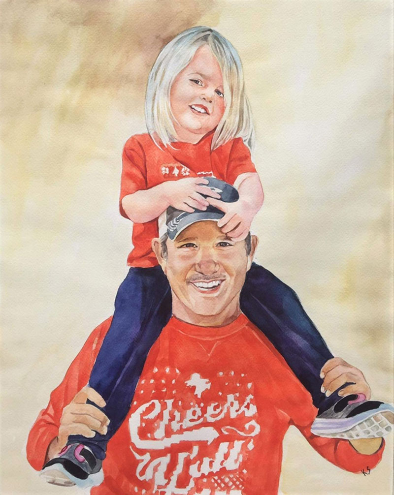 Beautiful watercolor painting of a father and daughter