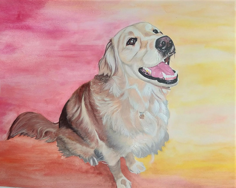 Custom dog painting in watercolor