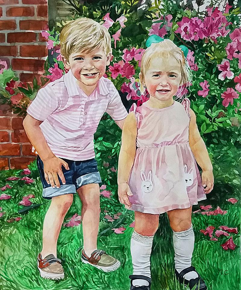 Custom handmade watercolor painting of two children