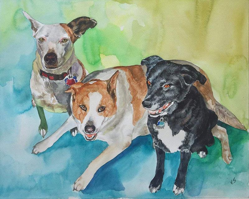 Custom three dog painting in watercolor