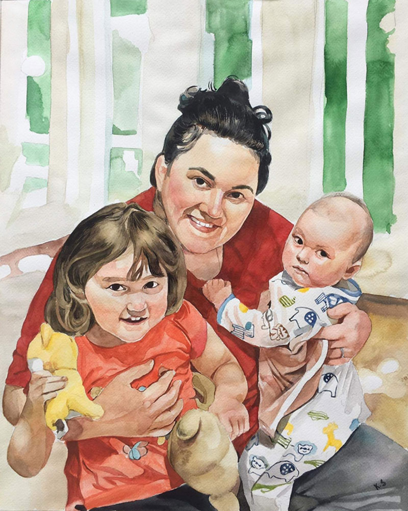 Beautiful handmade watercolor painting of a family