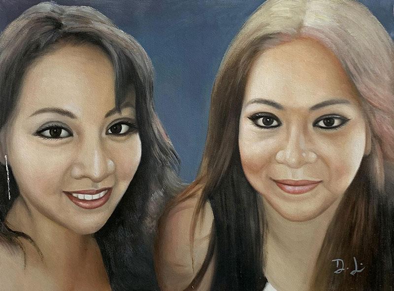 Beautiful acrylic portrait of two adults