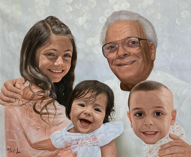 Beautiful painting of a grandfather and grandchildren