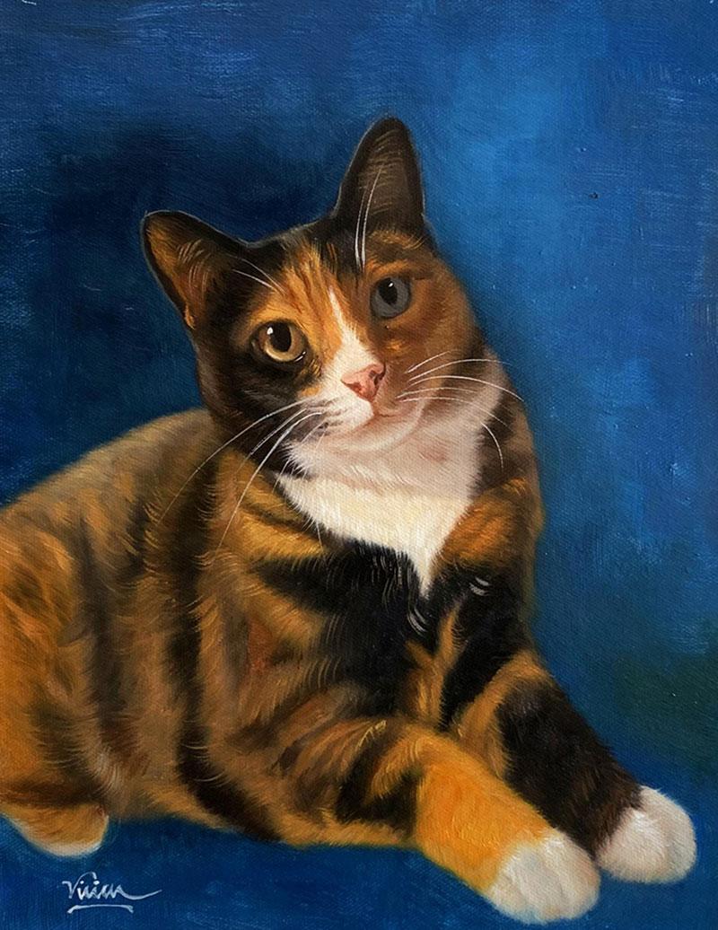 Custom handmade acrylic painting of a cat