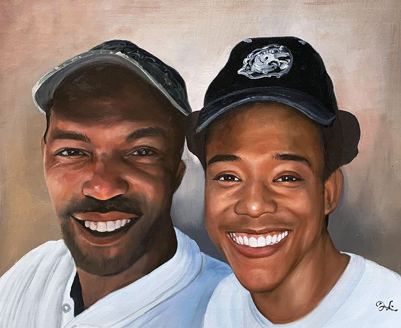 Beautiful handmade acrylic painting of two gentleman