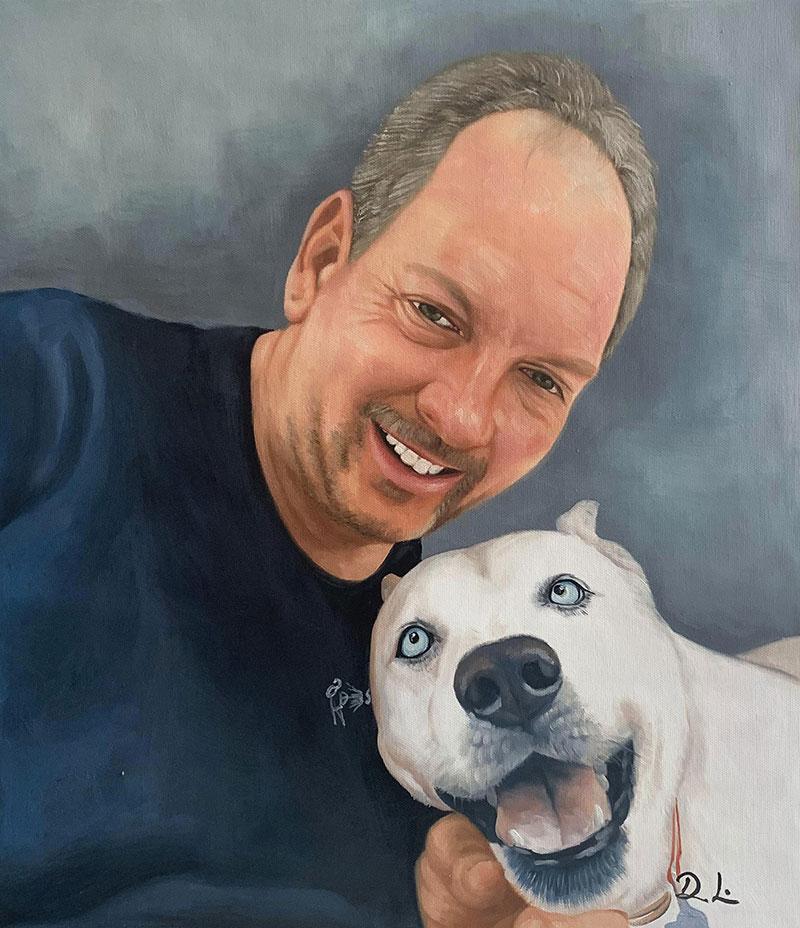 Custom handmade acrylic painting of a man with a dog