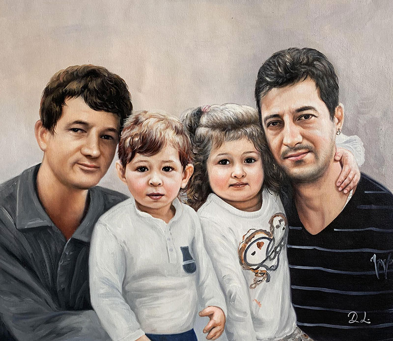 Gorgeous handmade acrylic painting of a happy family