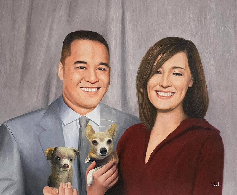 Beautiful acrylic painting of a couple with two dogs
