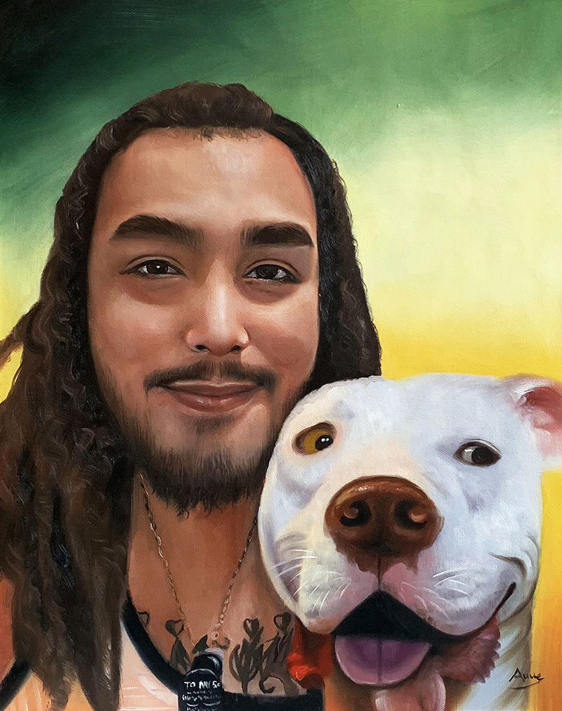Custom acrylic painting of an adult with a dog