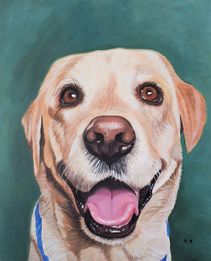 Custom handmade acrylic painting of a dog