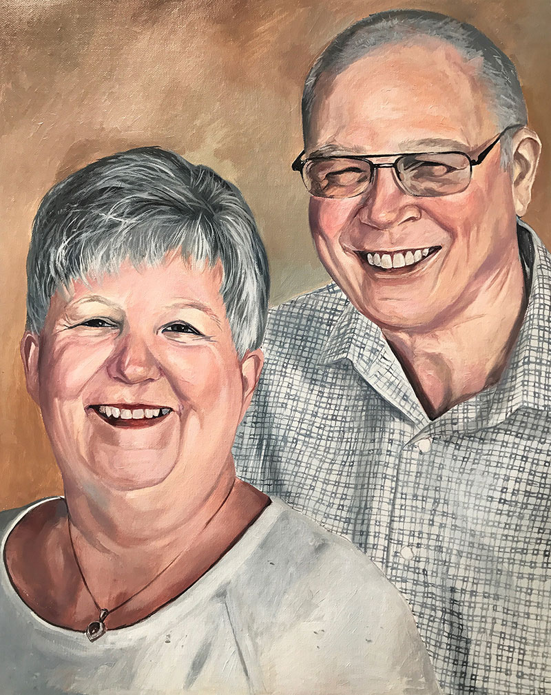Gorgeous acrylic portrait of an elder couple