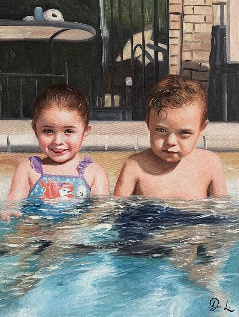 Custom handmade acrylic painting of two children