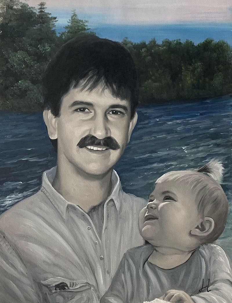 Custom handmade acrylic painting of a father and daughter