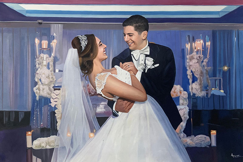 Gorgeous handmade acrylic painting of a just married couple