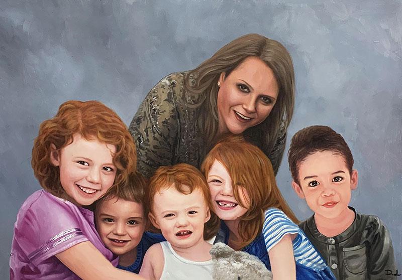 Beautiful handmade acrylic artwork of a family