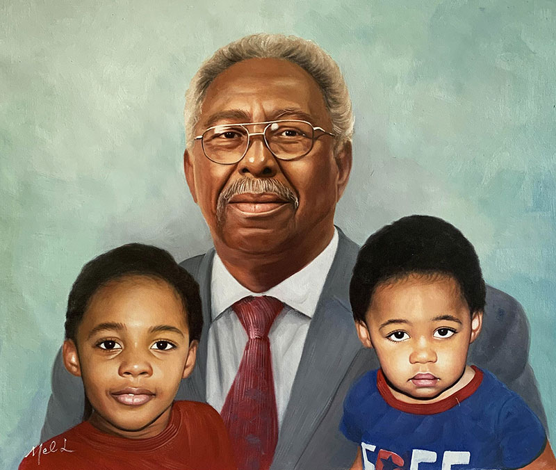 Custom acrylic painting of a grandfather with two kids