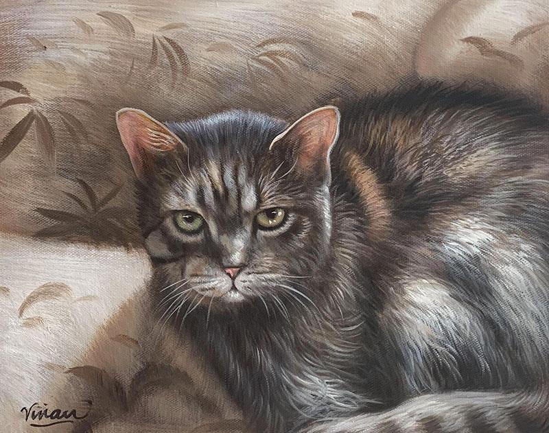 Beautiful acrylic painting of a grumpy cat