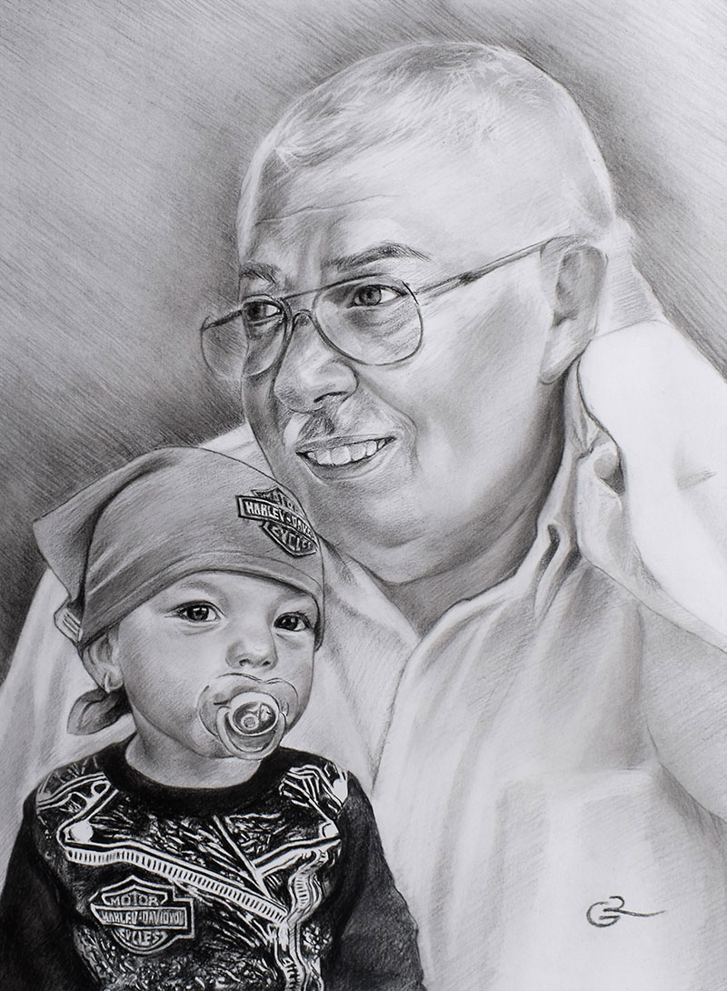 Beautiful charcoal drawing of an elder man with a baby