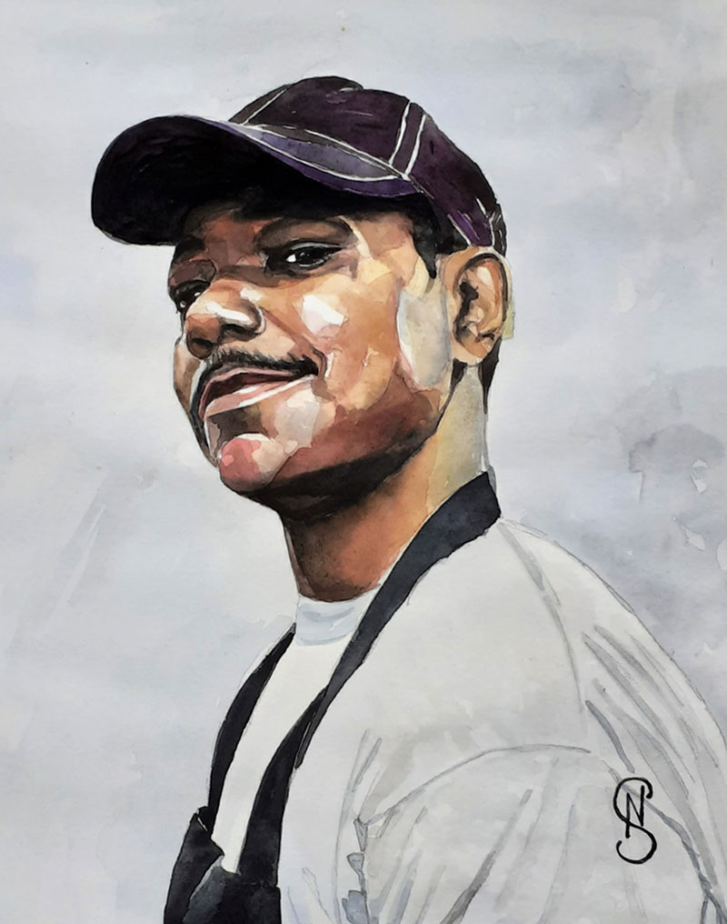 Beautiful watercolor portrait of an adult with a cap