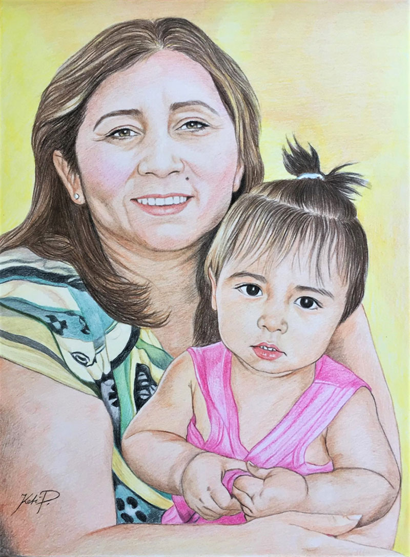 Gorgeous color pencil drawing of a mother and daughter