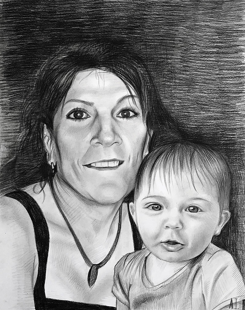 Beautiful black pencil drawing of a mother and child