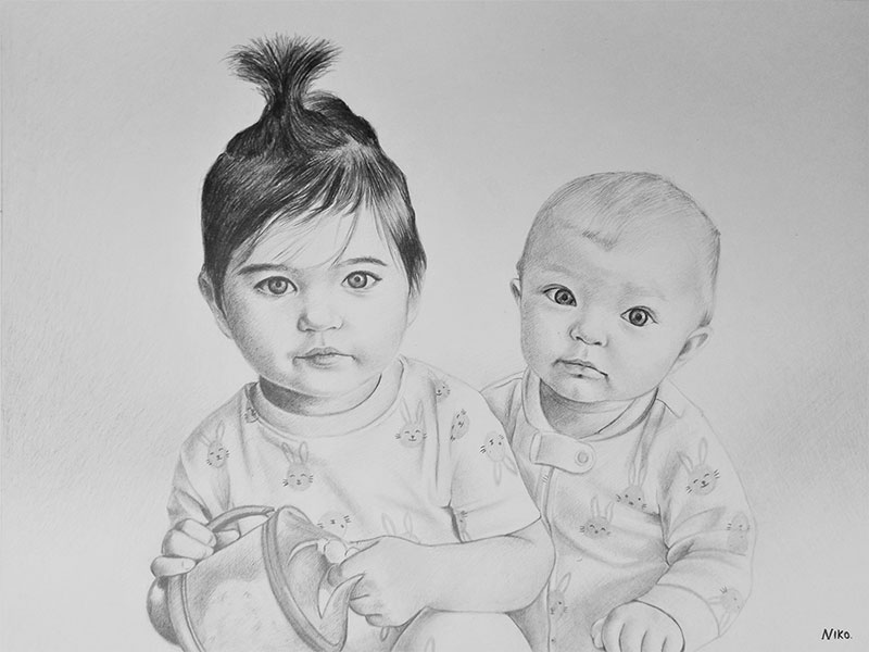 Custom handmade black pencil drawing of the siblings
