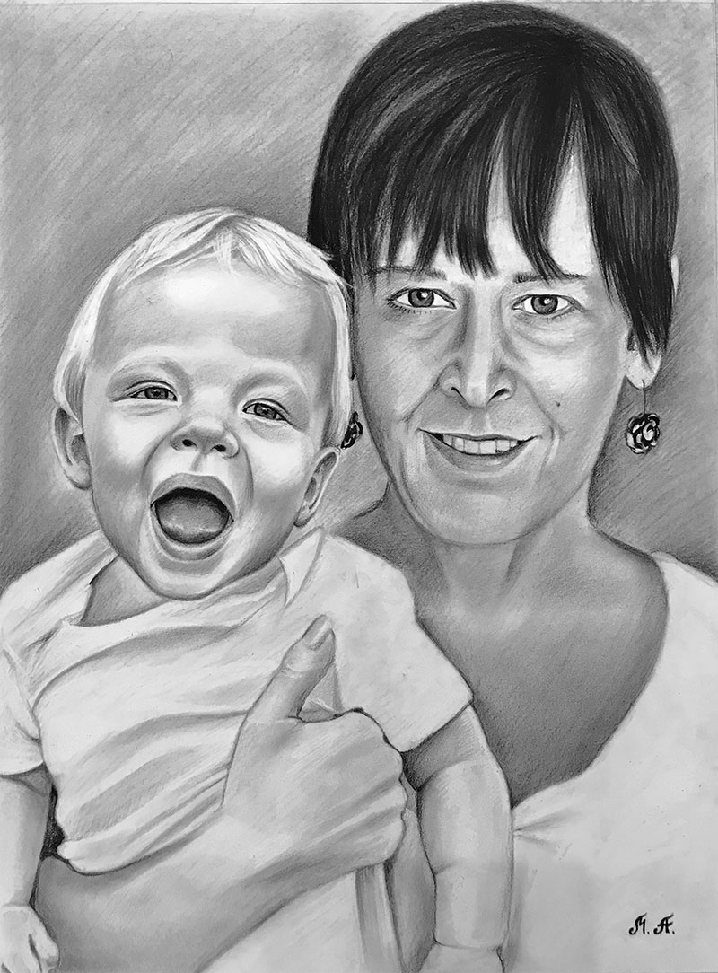 Custom handmade charcoal drawing of a mother with child