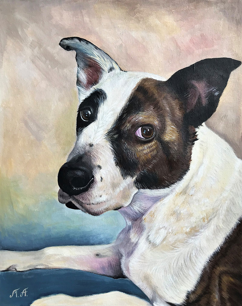Beautiful acrylic painting of a dog