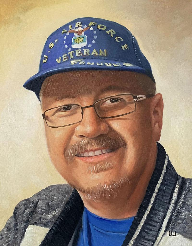 Custom acrylic portrait of the US air force veteran