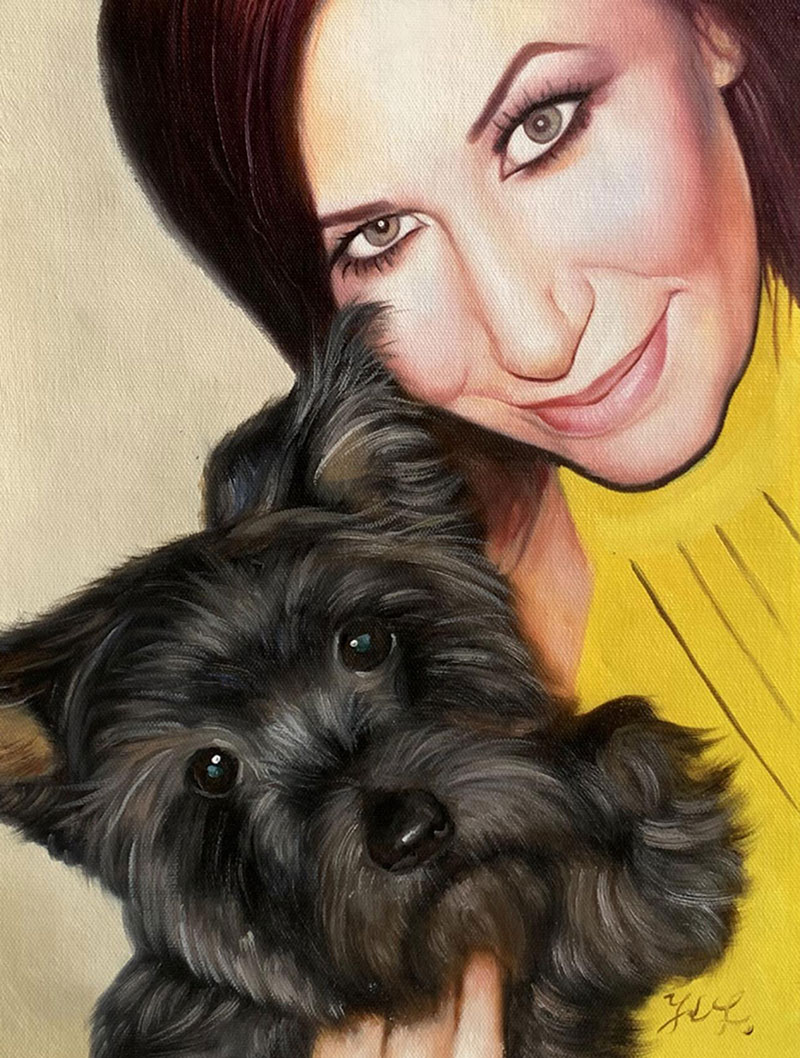 Beautiful close up acrylic painting of a lady holding a pet