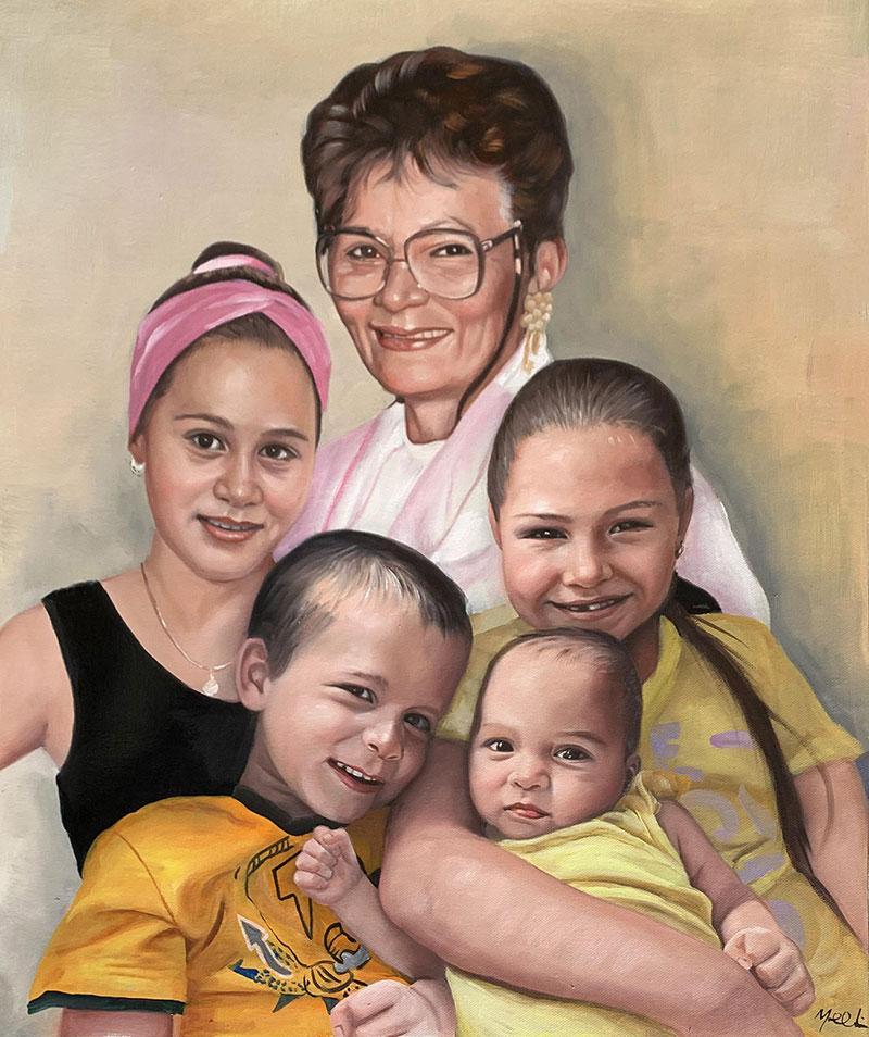 Custom acrylic painting of a happy family